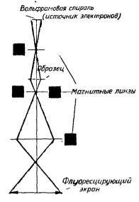 Принципиальная схема электронного микроскопа